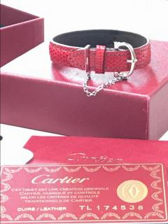 Cartier Sterling Silver And Lizard Leather Bracelet