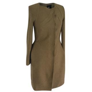 Roland Mouret Green Olive Wool Coat