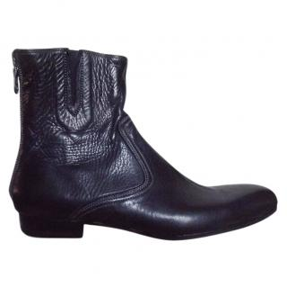 Paul Smith 'Men Only' ladies rear zip black leather ankle boots