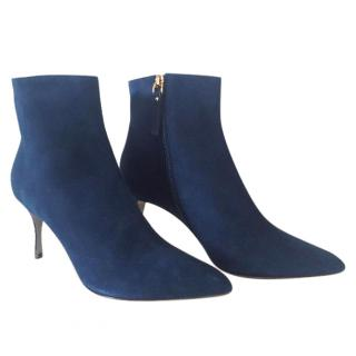 Sergio Rossi suede blue ankle boots