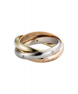 TRINITY DE CARTIER Medium tri colour gold ring with 5 diamonds