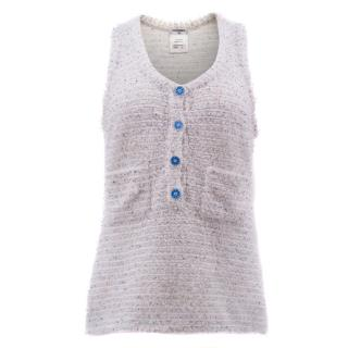 Chanel White Tweed Vest with Blue Buttons