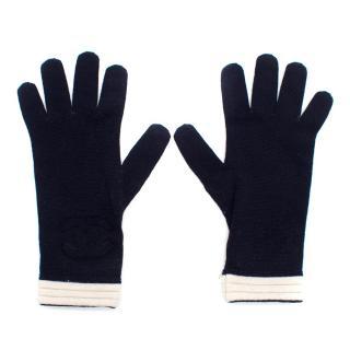 Chanel Navy Wool Logo Gloves