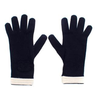 Chanel Navy Wool Logo Gloves