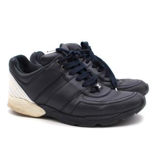 Chanel Navy Leather Trainers
