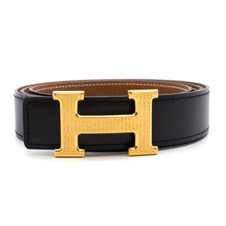 Hermes Black H Belt