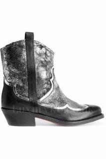 Rupert Sanderson Bilboa Black/Silver Leather Cowboy Ankle Boots