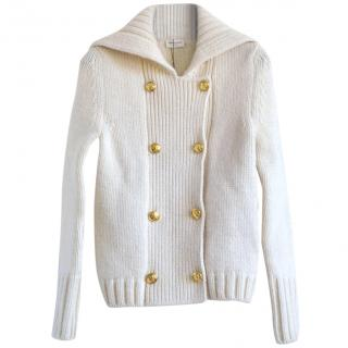Saint Laurent white double-breasted wool cardigan