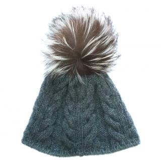 INVERNI Grey Cable Knit Wool Cashmere Fox Fur Pom Pom Beanie Hat