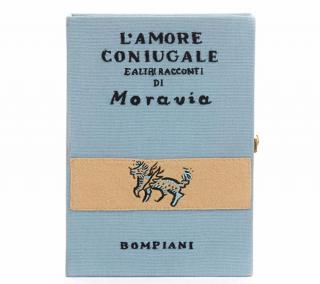Olympia Le-Tan Book Blue Fabric L'amore Coniugale Book Clutch