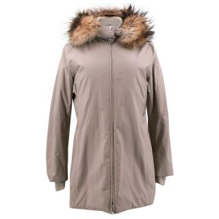 Prada Fur Trimmed Hooded Padded-Shell Jacket