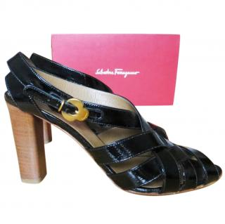 Salvatore Ferragamo black patent leather sandals