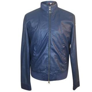 Armani Jeans Perforated Leather Bomber Jacket
