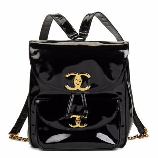 Chanel Black Patent Leather Vintage Timeless Backpack