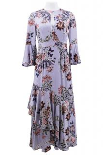 Erdem Florence Silk Satin Floral Dress