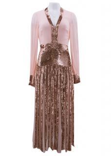 Temperley London Pink Beaded Sheer Gown