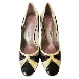 Anya Hindmarch Python Nappa Black & Gold Heels