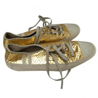 Emma Hope for Men Gold Python Sneekers