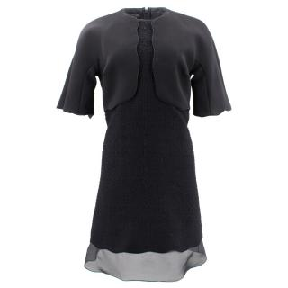Gianbattista Valli Black Crepe and Tweed Flared Dress