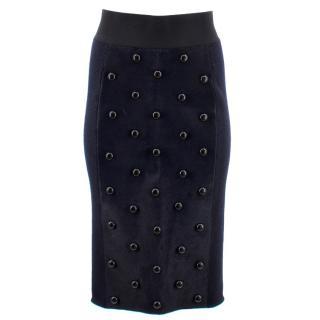 Marc Jacobs Calf Hair Studded Pencil Skirt