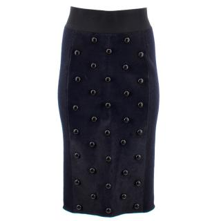 Marc Jacobs Calf Hair Studded Pencil Skirt