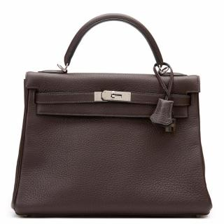 Hermes Chocolate Clemence Leather Kelly Retourne