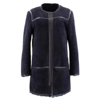 Isabel Marant Navy Suede and Shearling Coat
