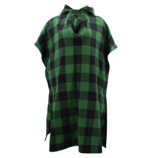 Stella Mccartney Green Checked Hooded Poncho