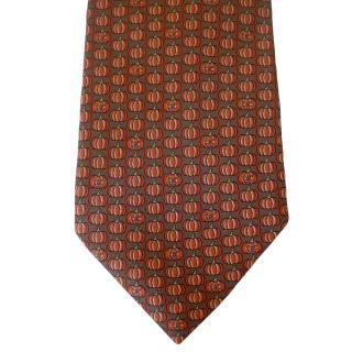 Hermes Jack O Lantern Pumpkin Rare Motif Silk Neck Tie