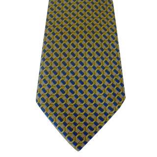 Hermes Yellow Gold and Blue Interlocking Circles Motif Silk Tie