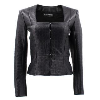 Balmain Croc-Embossed Leather Jacket
