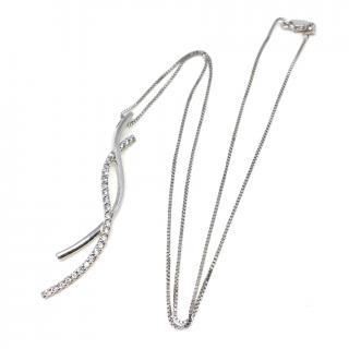9ct White Gold Diamond Pendant & 18ct White Gold Chain