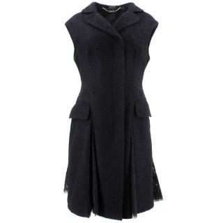 Alexander Mcqueen Black Lace Trimmed Sleeveless Coat
