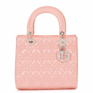 Christian Dior Baby Pink Quilted Patent Leather Medium Lady Dior