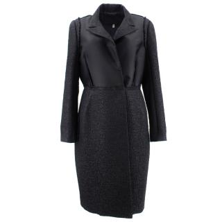 Lanvin Cloque Textured Black Coat