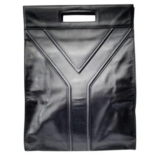 YSL Yves Saint Laurent Vintage Black Leather Bag .