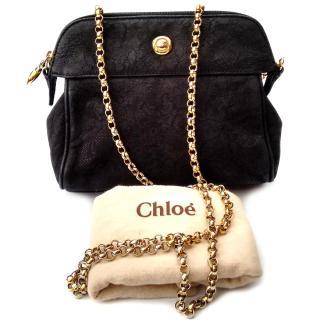 CHLOE Vintage Black Textured Suede / Nubuck Leather Shoulder Bag