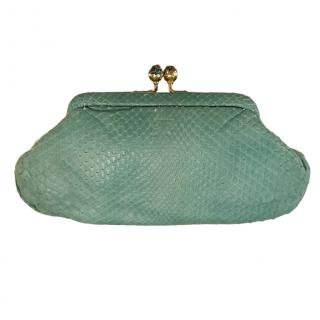 Anya Hindmarch turquoise python clutch bag