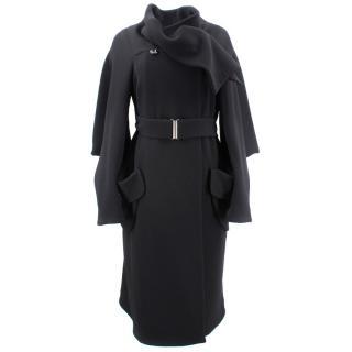 Alexander Mcqueen Black Belted Coat
