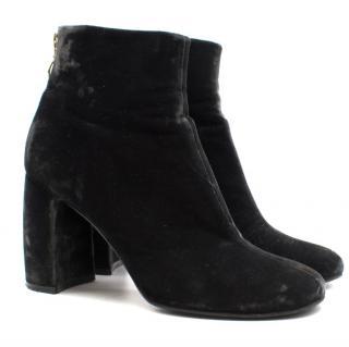Stella Mccartney Black Velvet Heeled Boots