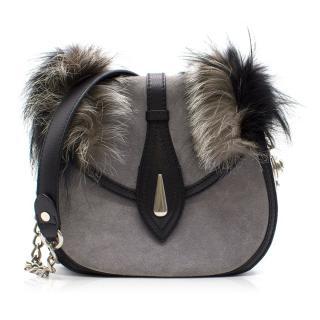 Alexander McQueen Mink-trimmed Leather Shoulder Bag