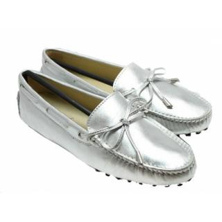 Tod's Silver Loafers