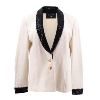 Chanel White Embellished Blazer Jacket