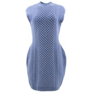 Stella Mccartney Blue Blended Wool Structured Mini Dress