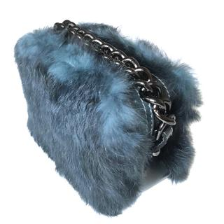 AGL rabbit fur mini box bag