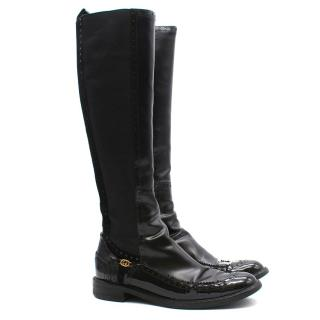 Gucci Elastic Leather Tall Boots