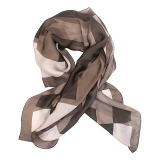 Gucci Brown Patterned Satin Scarf