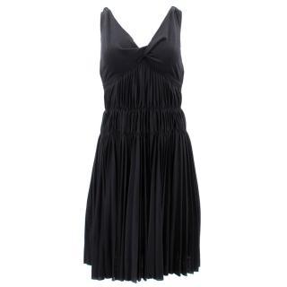 Louis Vuitton Black Wool Pleated Dress