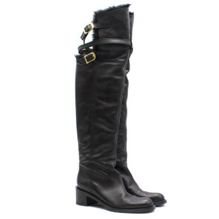 Gucci Nappa Riding Fur Trimmed Tall Boots