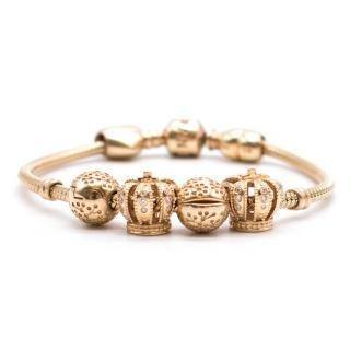 Pandora Moments Gold and Diamond Clasp Bracelet with Charms